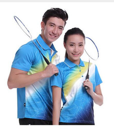 Wholesale Butterfly Tennis Shirt - 2017 sportswear quick dry breathable badminton shirt women's   men table tennis blue clothing set team short-sleeved polo t shirts