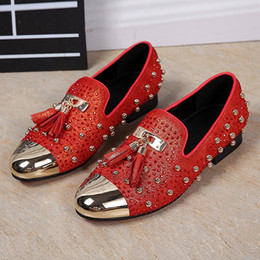 Wholesale Spikes Men S Shoes - Men Rhinestone Studded Leather Shoes Casual Spiked Loafers Espadrilles Tassel Mens Creepers Shoes Slip On Slippers Male Wedding Shoes Plus S