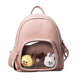 Wholesale Kids School Bags Leather - Fashion Cute Teens Student Kids Leather Backpack Pink black color school bags for Children gift with Lovely plush toys