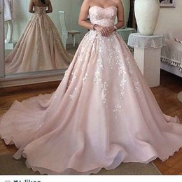 Wholesale Wedding Dress Designers China - White A-line 2017 pink Lace-up sweetheart modest satin cathedral train designer wedding dresses from china fairy 12y pregnant bridal gowns