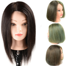 """Wholesale Cosmetology Real Hair Heads - New 20"""" 100% Real Human Hair Training Head practice Hairdressing Mannequin cosmetology hair styling mannequins with free clamp"""