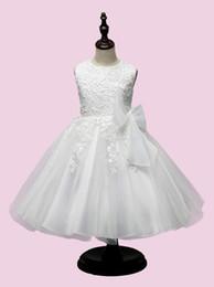 Wholesale Korean Pleated Skirt - Children Girls Dress White Lace Big Bow Princess Dresses Korean Style Big Girl Skirt Children Kids Clothing