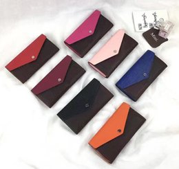 Wholesale Orange Genuine Leather Wallets Women - Free shipping ! original genuine leather long wallet top quality original box coin purse fashion classic zipper pocket card slot.