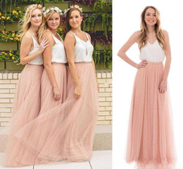 Wholesale Long Pleated Skirt Size 14 - 2018 Country Cheap Summer Boho Bridesmaids Dresses Beach Sleeveless V-neck Blush Tulle Skirt Long Maid of the Honor Dresses