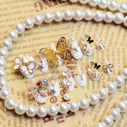 Wholesale Ongles 3d - Wholesale-24pcs 3D French Fake Nails False Ongles Full Nails Tips Art Decoration DIY Manicure Butterfly Bowknot Pearls Rhinestones Theme