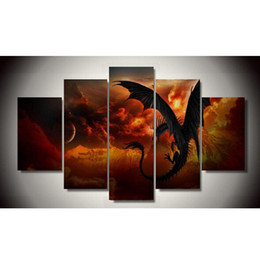 Wholesale wall dragon decor - 2017Sale Real Painting By Numbers No Frame Dragon 5 Piece Picture Painting Wall Art Children's Room Decor Canvas Free Shipping