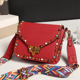 Wholesale Candy Red Flowers - High Quality PU Leather Women Crossbody Bags Fashion Color Rivet Design Women Shoulder Bags Color Shoulder Strap Ladies Bag RED BLACK blue