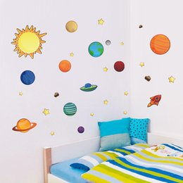 Wholesale planets wall decals - Wall Sticker Creative Solar System Planet Bedroom Backdrop Water Proof Removable Art Decor Decals For Kid Room Stickers 5tt F R