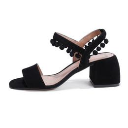 Wholesale Toe Sling Sandals - Retro Gorgeous Genuine Sheepskin Women Sandals 5cm Chunky Heel Open Toe Sling Back CN34~39 Size