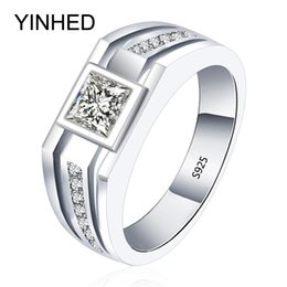 Wholesale Men Wedding Rings Real - Wholesale- 90% Promotion !! YINHED Real Solid 925 Sterling Silver Rings for Men Wedding Engagement Ring Fashion Zircon CZ Jewelry ZR282