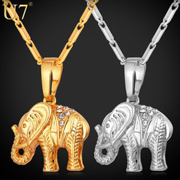 Wholesale Thailand Jewelry Necklaces - Wholesale-U7 Lucky Jewelry Gold Plated Thailand Elephant Necklace Trendy Rhinestone Crystal Animal Pendant Necklace Women Gift P563