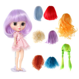 Wholesale Blythe Hair - New Arrivals Sweet Full Doll Wig Hairpiece Curly Hair 27-28cm for 1 6 Blythe Dolls Colorful Dolls Wigs Brick Dolls Accessories