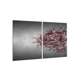 Wholesale Cool Abstract Art - 2 PCS Modern Wall Art Picture Red & Gray Canvas Painting Cool Abstract Spray Print Decorations for Room Wall