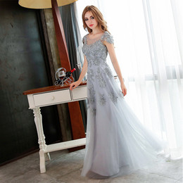 Wholesale Grey Silk Gown - New Arrival Fashion Long Evening Dresses Grey Lace Embroidery Beading Party Gown Bridal Banquet Prom Dress