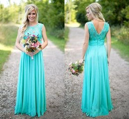 Wholesale Turquoise Ankle Length Dress - 2017 New Arrival Chiffon Turquoise Lace Bridesmaid Dresses Scoop Neckline Floor Length Backless Long Bridesmaid Dresses Gowns Coustom Made