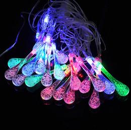 2019 lâmpadas penduradas de cristal 2 M 20 LEDs de ÁGUA QUEDA de fadas STRING LUZES de CRISTAL de AR BORBULHAS lâmpada Jardim Guirlanda luzes de suspensão Xmas Barra de casamento lâmpadas penduradas de cristal barato
