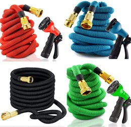 Wholesale Expandable Gun Nozzle - Garden hose expandable fexiable natural rubber water hose With brass joint Spray Nozzle Head 8 functions gun EU Version standard