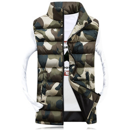 Wholesale Female Camouflage Clothing - Wholesale- 2016Men's Stand Collar Camouflage Vest Men Winter Sleeveless Casual Jackets Male Female Slim Camo Waistcoat Brand Clothing,SA031