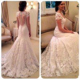 Wholesale High End Beach Wedding Dresses - High-end Lace Mermaid Wedding Dresses With Elegant Sweetheart Short Sleeve See Through Back Sweep Train Bridal Gown 2017