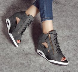 Wholesale Lace Up Wedge Heels - new arrival Fish mouth shoes cowboy cloth women side zipper wedge sandals female shoes