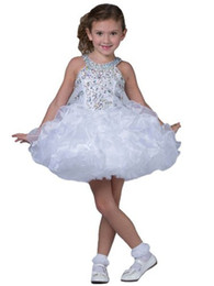 Wholesale Little Girls Formal Mini Dress - Little Girls First Communion Gowns Baby Kids Pageant Dresses Toddler Formal Occasion Cute Tutu Short Mini Dresses