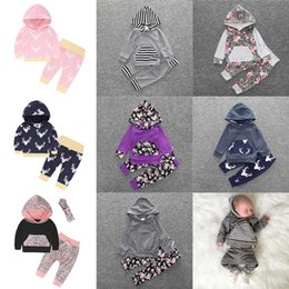 Wholesale Cute Baby Clothes For Boys - Cute kids Floral Clothing Sets Children's clothes baby boys hoodie suit top pants two-piece for winter 966