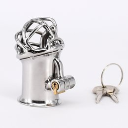 Wholesale Lock Man Penis - Extreme Confinement Chastity Cage Penis Piercing Stainless Steel PA Lock Chastity Device Sex Toys Cock Cage For Men Penis