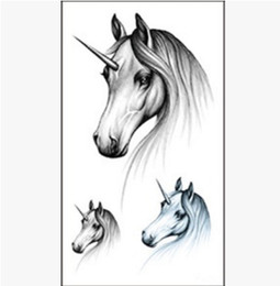 Wholesale Tattoo Stickers For Kids - Children Unicorn Tattoo stickers Sketch white horse stickers Waterproof Sticker for kids and adults party decoration 11*6cm
