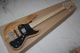 Wholesale Maple Bass - Custom shop Elm body 5 Strings Bass Guitar with Active amplifier circuit Burlywood Electric bass Guitar -1411-11