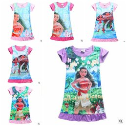 Wholesale Girls Printed Dress - Moana Pajamas Girls Trolls Nightgown Kids Cartoon Sleep Dress Summer Print Sleepwear Short Sleeves Cotton Dresses Kids Causal Fashion J520