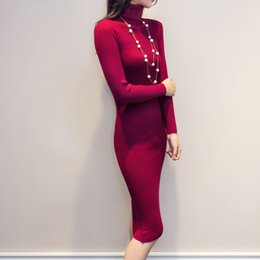Wholesale Kimono Sweater Dress - Women Autumn Winter Sweater Knitted Dresses Slim Elastic Turtleneck Long Sleeve Sexy Lady Bodycon Robe Dresses Vestidos