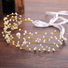Wholesale Trendy Ornaments - Pearl bridal tiaras headband bride wreath wedding flower headdress noble hair ornament hair Jewelry Ribbon Hair Band Gold Crown Tiaras