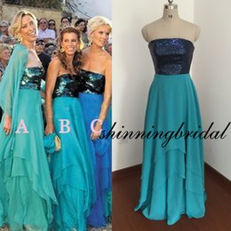 Wholesale Real Actual Photos Bridesmaid Dresses - Real Picture Bridesmaid Dresses Hunter Sequins Strapless Sashes Chiffon A Line Backless Long Maid Of Honor Dresses Actual Cheap