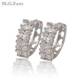 Wholesale White Gold Square Hoops - (403E) Fashion Jewelry Hoop Earrings For Women White Gold Filled Plated AAA+ artifical Zircon Stone Square Not Allergic