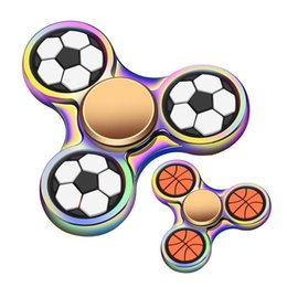 Wholesale Wholesale Toy Basketballs - Rainbow Football Basketball Tri Hand Spinners EDC Hand Fidget Spinner Fingertip Gyro Anti-Anxiety Anxiety Toy OTH536