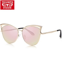Wholesale Vision Designer - Wholesale-TRIUMPH VISION Multicolor Mirror Gradient Sunglasses Female UV400 Lens Fashion Metal Cat Eye Designer Glasses Woman 2016 Shades