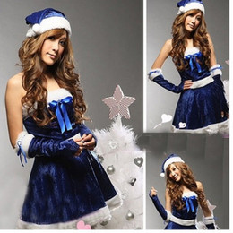 Wholesale Velvet Hats Ladies - Novelty Ladies Blue Velvet Mini Dress Mrs Santa Claus Christmas Festival Party Cosplay Outfit With Hat