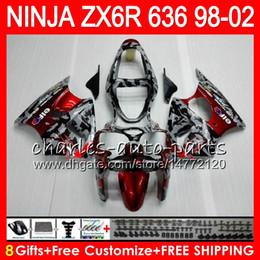 Wholesale 98 Zx6r Fairings - 8Gift For KAWASAKI NINJA ZX6R 98 99 00 01 02 ZX636 ZX-6R ZX-636 31HM8 Camouflage red 600CC ZX 636 ZX 6R 1998 1999 2000 2001 2002 Fairing kit