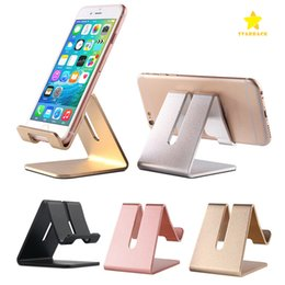 Wholesale Aluminum Tablet Pc Stand - Mobile Phone Stand Holder Universal Aluminum Metal Phone Holder Stander for iPhone Samsung Tablet PC Desk Phone Holder Stand for Smartphone