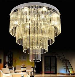 Lujo gran cristal circular LED luz de techo para sala de estar dormitorio en casa lámparas modernas Penthouse piso Hall escaleras LLFA desde fabricantes