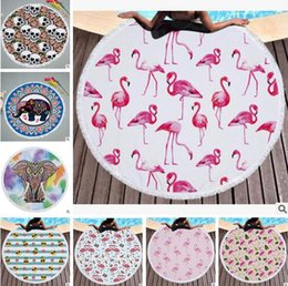 Wholesale Thick Yoga Blanket - Flamingos Towels Round Mandala Blankets Thick Yoga Mat Skull Superfine Fiber Swimwear Pineapple Towel Beach Pool Cover Free Shipping