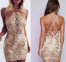 Wholesale Golden Clothes China - New 2018 summer sexy dress backless lace and golden silk embroidered club dress cheap clothes china XYFY 223