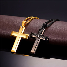 Wholesale Stainless Steel Cross For Necklace - Big Cross Necklaces Black Gold Color Stainless Steel Bible Cross Pendant & Chain For Men Hiphop Jewelry P868