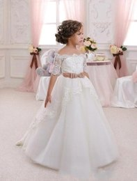 Wholesale Wedding Girls Short Skirt - Lace Sweety Cute 2017 New Off the Shoulder A line Flower Girls Dresses Illusion Beads Tulle Tiered Skirts Ribbon with Bow Country dresses
