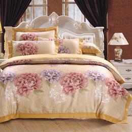 Wholesale Floral King Pillowcases - Wholesale- Floral print bedding set luxury king queen size boho bed set jacquard cotton duvet cover set bed fit sheet pillowcase 4pcs