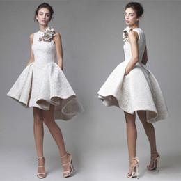 Wholesale Dress Tea Length Pockets - 2017 Krikor Jabotian High Low Prom Dresses Jewel Neckline A-Line Flower Party Dress Mini Short Lace Summer Evening Gowns with Pocket