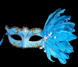 Wholesale Festival Feather Mask - 2017 New Mask Muffle Festival Christmas Halloween Feather Mask Birthday Party Mask