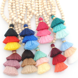 Wholesale Wood Beads Yellow - White Wood Beads Three Tassels Necklace Long Sweater Chain Boho Ethnic Vintage Coffe Yellow Pendant Necklace for Women Jewelry Gift 9 color
