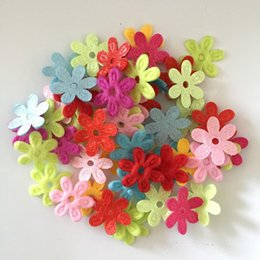Wholesale Flower Felt Craft - 100pcs Random mixed Padded Felt Spring Flower Appliques Craft DIY Wedding decoration A29A