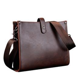 Wholesale Large Brown Leather Laptop Briefcase - Fashion Single Men's Shoulder Bags Crazy Horse Leather Men Messenger Laptop Business Briefcase Large Cross Body Bags